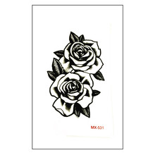 New arrive Waterproof Temporary Tattoo Sticker 10.5*6 cm cute black rose Tattoo water transfer fake Flash tattoos for men girl(China)