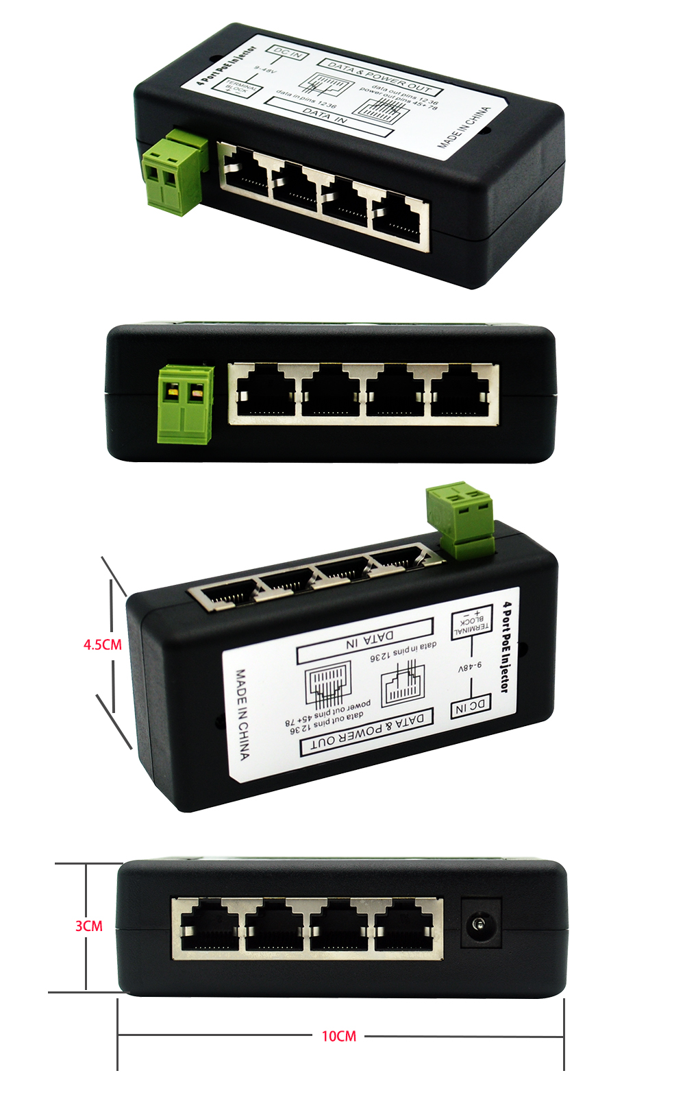 Autoeye New Arrival  4Ports 8 Ports POE Injector POE Splitter for CCTV Network POE Camera Power Over Ethernet IEEE802.3af