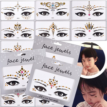 1Sheet Face Jewels Rhinestones Adhesive Crystal Face Gems Beauty Body Glitter Tattoo Art Eyebrow Face Body Jewelry LADG001-033