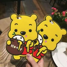 Newest Fashion 3D Cute Soft Silicone Bear Pooh Garfield Cat Back Case Cover For iPhone 6 6S 6 Plus For iPhone 6S
