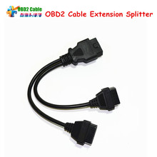 High Quality OBD2 Cable Extension Splitter 16 Pin Male to Dual Female Y OBD Car Cable Free Shipping
