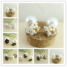 2015 new design fashion brand elegant Daisy jewelry double simulation pearls stud earrings for women big three Flowers earings