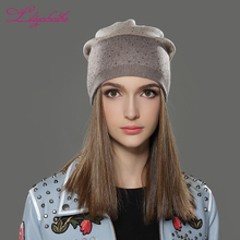 LILIYABAIHE Women Autumn And Winter Hat Knitted Angora  Cap  Casual Outdoor  Fashion stripes scattered drill Hat  for Girls