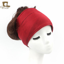 2016 Fashion Women Headband Comfortable Wide Adjustable Double Foam Mesh Wrap Headband Hair Band Coconut Oil Treated