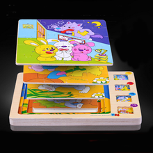 Multilayer 3D Puzzles Wooden Toy Jigsaw Puzzle Animal Stories Early Educational Childhood Intelligence Kids Toys for Children(China)