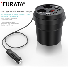Turata Car Charger 2 USB Cup Power Socket Adapter Cigarette Lighter Splitter Mobile Phone Car-Charger With Voltage LED Display(China)