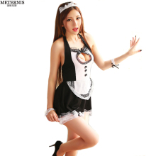 Buy METERNIS hollow women sexy lingerie hot lace porn French Maid uniform sexy costumes backless sexy costumes erotic Lingerie 353