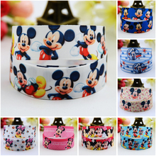 7/8'' (22mm) Mickey Minnie Cartoon Character printed Grosgrain Ribbon party decoration satin ribbons OEM 10 Yards
