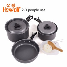 Hewolf Aluminum Non-Stick Outdoor Camping Cookware Set 11PCS Portable Pot Pan Spoon Shovel Bowl Cookware Set For 2-3 People
