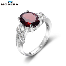 Mopera Hot Sale Fashion Design Silver Rings For Women Solid 925 Silver Garnet Ring 2.8 ct Natural Garnet Gemstone Fine Jewelry(China)