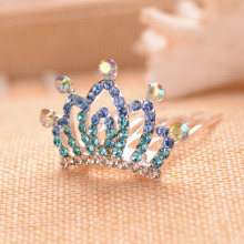 Colorful Rhinestone Small Crown Tiara For Girls Fashion Flower Girls Party Hair Tiara Hair Accessories(China)