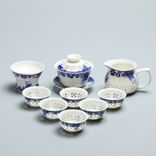Blue and White Porcelain Exquisite Tea Sets, Ice Crystal Honeycomb Hollow Ceramic Kung Fu Teaset ,CHAYUANCHUANSHI Teapot Cup