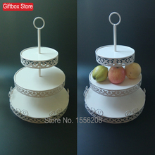 3 Tiered Tower White Cupcake Holder Stand Iron