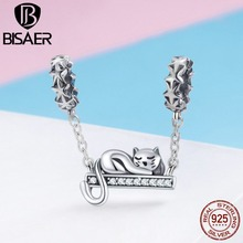 Authentique 925 Sterling Silver Safety Chain Belle Chat Femmes Pendentifs Charms fit Bijoux DIY Faire Des Bijoux De Mode HSC856(China)