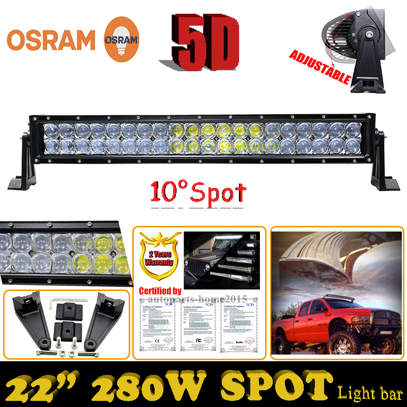 5D ForOsram 22Inch 280W External Headlights Spot LED Light Bar SUV ATV Boat 4WD Truck Off-road Driving Lamp+Harness Wire Kits<br><br>Aliexpress