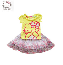 Summer Style Children Clothes Hello Kitty 1806 New 2015 Baby Girls Clothing Set Kids clothes T shirt + Skirt Girls clothing sets