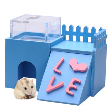 Lovely Rat House Wooden Hamster Ladder Pet Small Animal Rabbit Mouse Hideout Luxury Home 2 Storey Platform Playhouse Nest Newest(China)