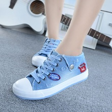 Shoes Women 2017 Sping Autumn Denim Casual Shoes Lace-Up Women's Fashion Flats High Top Canvas Shoes Woman Flat Shoes(China)