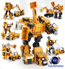 Transformation Robot Car Metal Alloy Engineering Construction Vehicle Truck Assembly Deformation Toy 2 in 1 Robot Kid Toys Gifts(China)