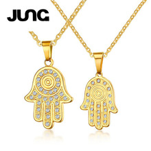 JUNG Personality Cople Lovers Gold Hand Finger Titanium Necklace Chain Charms Collar Pendant Valentine's Day Gift Jewelry N8030(China)