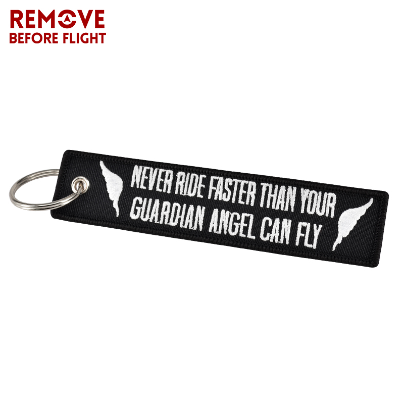 Key Chain Bijoux Keychain for Motorcycles Embroidery Key Fobs OEM Keychain Never Drive Faster Than Your Guardian Angel Can Fly (1)