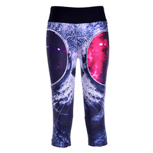 New Hot Slim Women Mid-Calf Leggings Sexy 3D Glasses Cat Digital Print Fitness Yoga Cropped Trousers Elastic Breathable Capris(China)