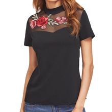 MUQGEW Women t-shirt rose embroidery decals sexy female tshirt chiffon cotton stitch round neck short sleeve t-shirts for woman