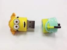100pcs/lot cartoon beauty gril model 3D Cartoon Minions usb flash drive 4gb 8gb 16gb 32gb memory stick pen drive thumb usb