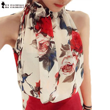 New  Fashion Women Sleeveless Chiffon Floral Print Blouses Ruffles Turtleneck Tops Shirt Vest Design Loose Brand T57334