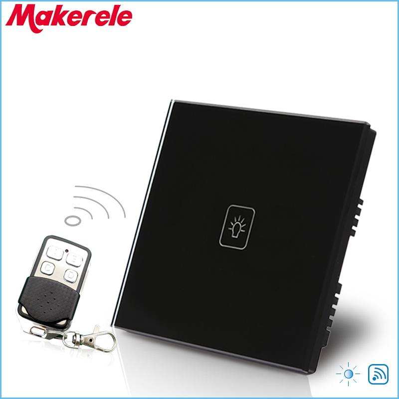 UK Standard 1 Gang 1 way Remote Control Dimmer Touch Switch Black Crystal Glass Panel Remote Light Wall Switch<br>