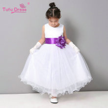 Flower Girl Dresses Summer Cheap White Stain Dress for Children Toddler Kids Wedding Tutu Dress(China)