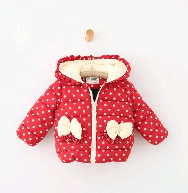 2017 autumn and winter children girl hooded coats warm clothes zipper childrens girl wear wave bows thickening coatОдежда и ак�е��уары<br><br><br>Aliexpress
