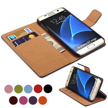 S7 / S7 Edge Luxury Wallet Genuine Leather Case for Samsung Galaxy S7 / S7 Edge Coque Flip Cover Stand Design with Card Slot New