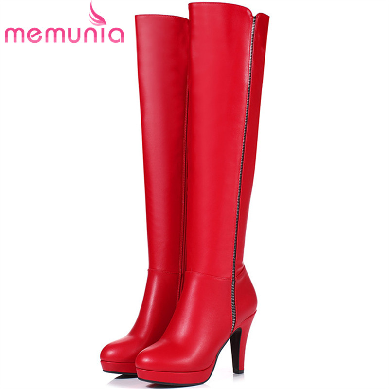 MEMUNIA Over the knee boots PU soft leather platform shoes woman autumn winter boots fashion elegant womens boots<br>