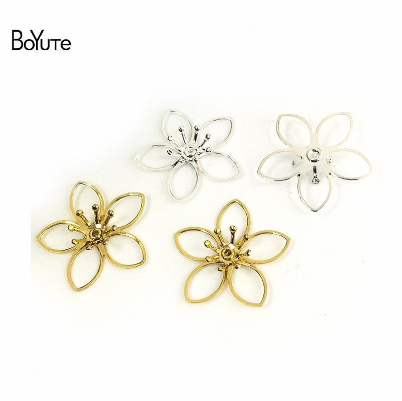 BoYuTe 50Pcs Metal Brass Stamping Filigree Flower Accessories Parts for Bridal Hair Jewelry Making (4)