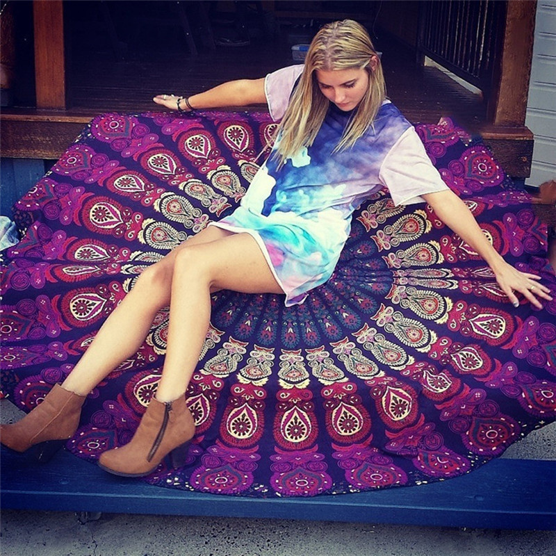 Round Beach towel 160*160cm Bohemian style Bath Towels peacock bed sheet round table cloth big size swim towels 100% polyester(China (Mainland))