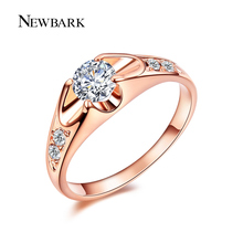 NEWBARK Classic 0.5 Carat Engagement Ring Forever Rose&White Gold Color Aneis Bijoux AAA Zircon Like Crown Femme Fashion Jewelry