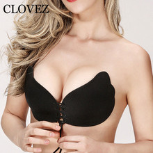 CLOVEZ 2017 Sexy Invisible Super Push Up Fly Bra Women Plus Size Self-Adhesive Sticky Strapless Bras Seamless Backless Bralette(China)