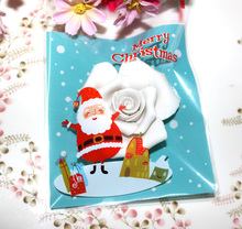 Free shipping Christmas series blue Santa Claus decoration baking package cookie candy dessert bags plastic self adhesive bags