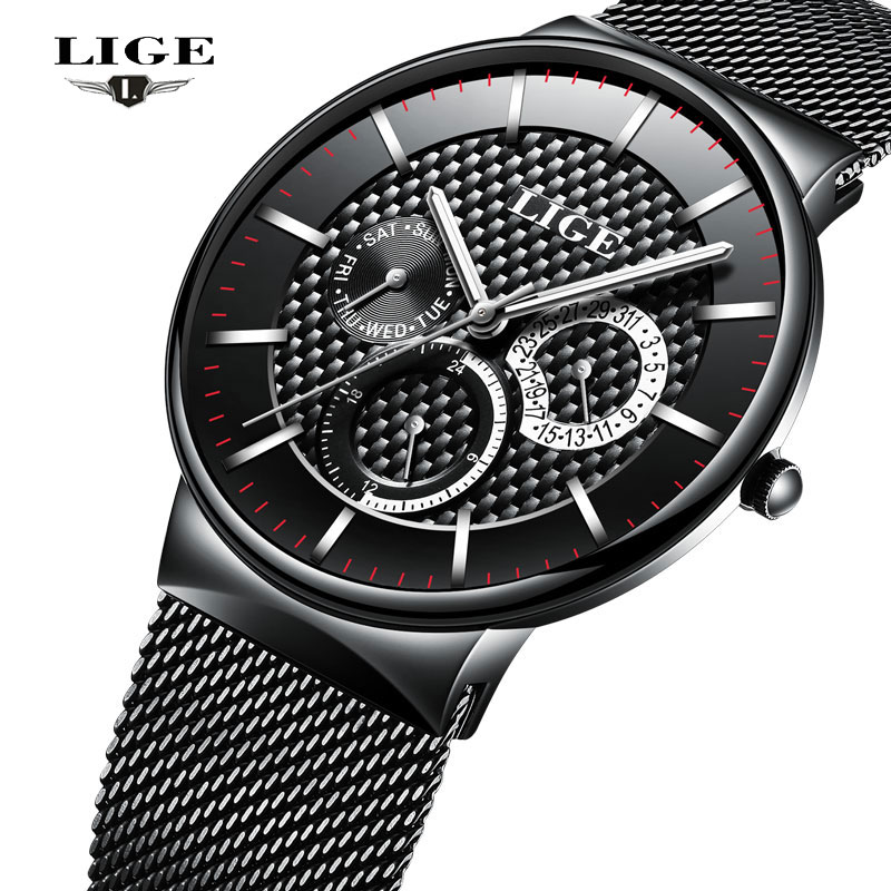 2017 LIGE Mens Watches Top Luxury Brand Men Quartz Watch Man Full Steel Fashion Sports Waterproof Date Clock Relogio Masculino<br>