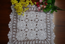 Handmade hook flowers cotton Lace Chic hollow square Crocheted Table Cloth / Many Uses place mat Pads/ Vintage Europe Style