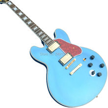Guitar high quality custom electric guitar ES335 blue hollow body free shipping(China)