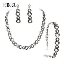 Gorgeous 3Pcs Gray Crystal Jewelry Sets Silver Plated Retro Unlimited Bracelets And Necklaces Engagement Earrings For Ladies