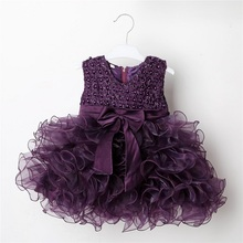 XQ-167 newborn wedding flower princess style girl sleeveless dress Bowknot purple chiffon beaded party dress baby formal dress