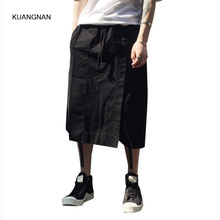 Summer Male Casual Skirt Pant High Street Fashion Hip-hop Men Wide Leg Cross Trousers Loose Short Harem Pant