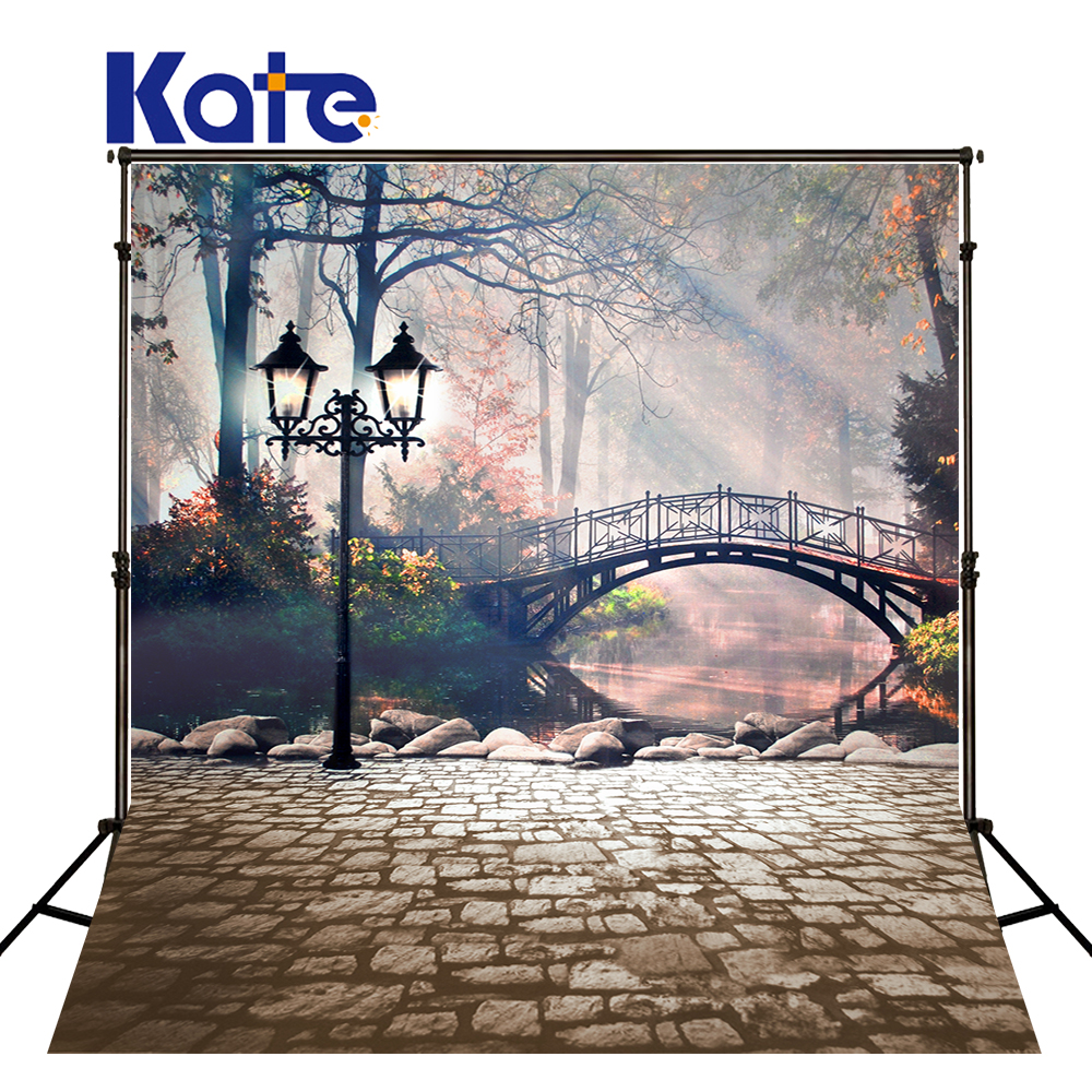 Kate 5X6.5Ft(150X200Cm)Arch Street Lake Photography Backdrops Retro Bridge Brick Wall Washable Photography Background Fotografia<br>