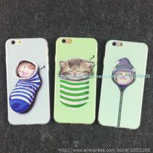 100 Pcs Case for Apple 6 Protective Sleeve Case for Iphone6 Mobile Phone Shell 4.7 5.5 Inch Sock Cat Soft Shell TPU