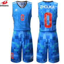 Men Digital Printing Basketball Sets Sleeveless Basketball Jerseys Basketball Shorts Mesh Sports Suit(China)