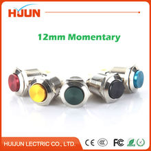 1pcs 12mm Waterproof Momentary High Round Stainless Steel Metal Push Button Switch Car Horn Red Yellow BlackGreenBlue Auto Reset