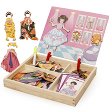 Princess dress up Wooden Magnetic Puzzles toys Multifunctional Drawing Board baby girl Kitchen Happy party Changing Clothes Toys
